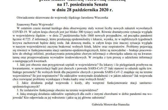 Oświadczenie senatorskie do Wojewody Śląskiego