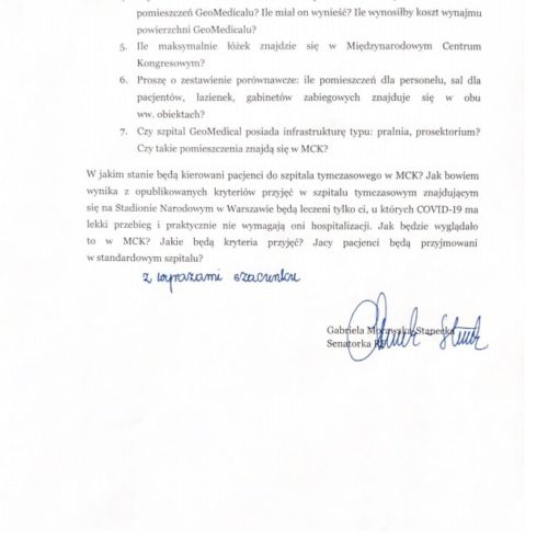 Przekształcaniem Międzynarodowego Centrum Kongresowego w Katowicach w tymczasowy szpital do walki z COVID-19